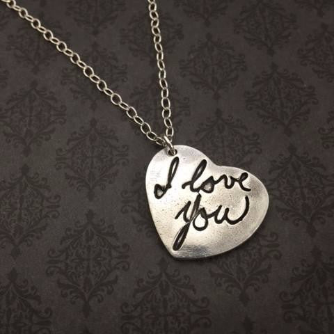 Heart Fingerprint or Handwriting Necklace - Bestseller