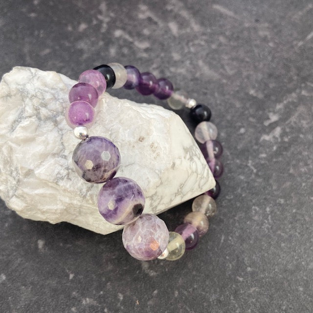 Fluorite and Faceted Amethyst Bracelet