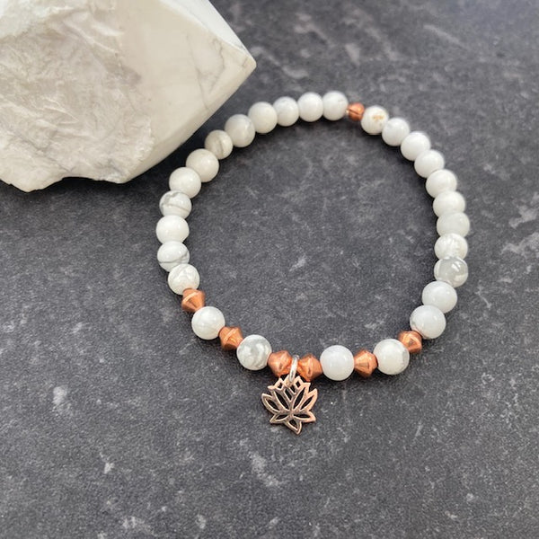 Howlite and Lotus Charm Bracelet