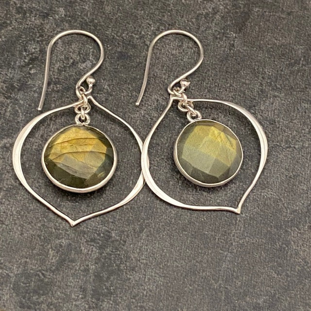 Round Labradorite and Arabesque Earrings