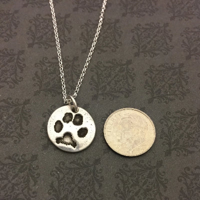 Dainty Pet Paw or Nose Print Necklace