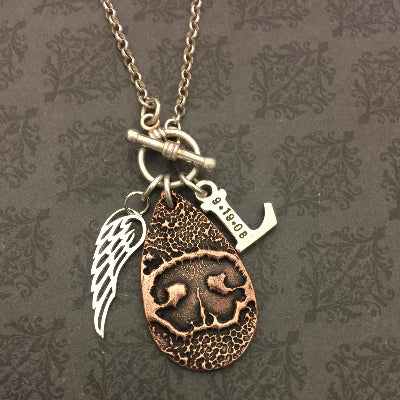 Teardrop, Wing Charm and Initial Paw Print or Nose Print Necklace