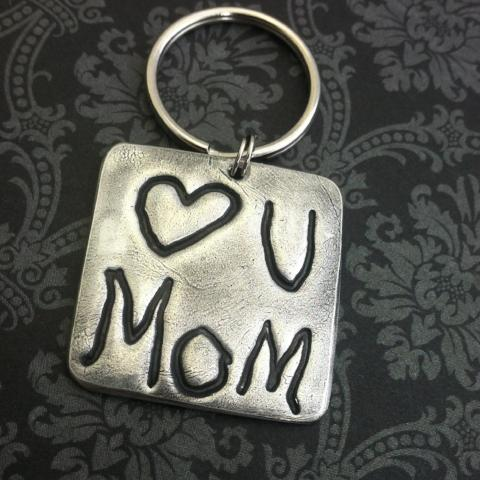 Square Keychain - Handwriting - Fingerprints - Artwork