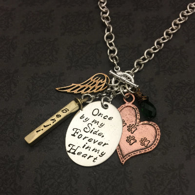 Once By My Side Pet Memorial Hand Stamped Necklace