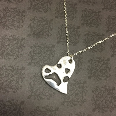 Heart Paw Print Necklace