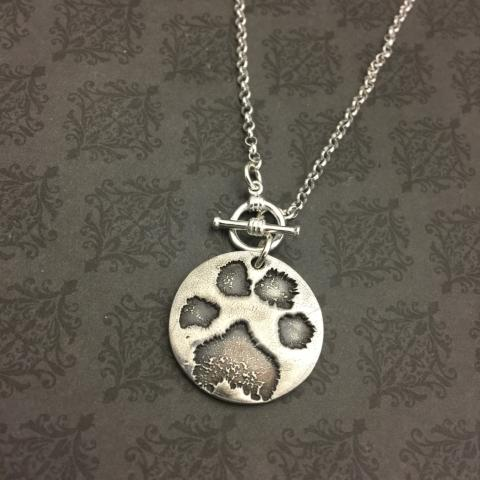 Round Dog Paw or Nose Print Necklace with Toggle clasp - Actual Dog Paw Print or Nose Print