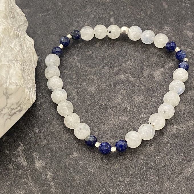 Moonstone with Lapis Crystal Bracelet