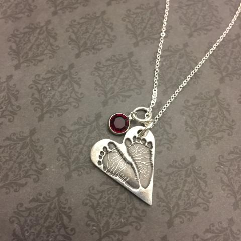 Heart Necklace - Fingerprint, Handwriting or Footprint Keepsake