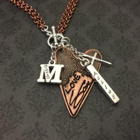 Copper and Sterling Custom Family Necklace
