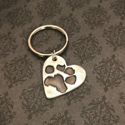 Heart Pet Paw or Nose Print Keychain