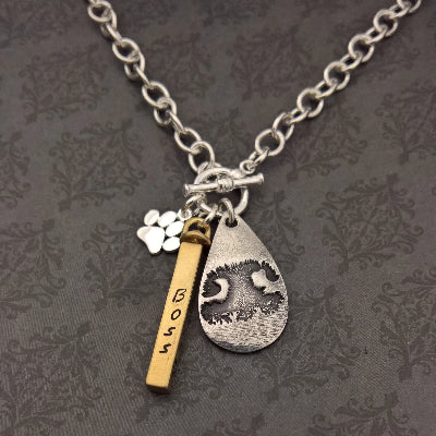 Teardrop with Paw Print or Nose Print, Bar and Paw Print Charm Necklace