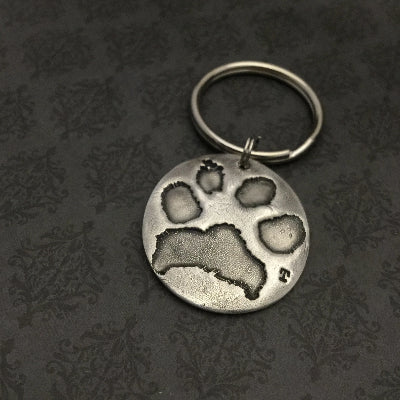 Large Round Pet Paw Print or Nose Print Keychain