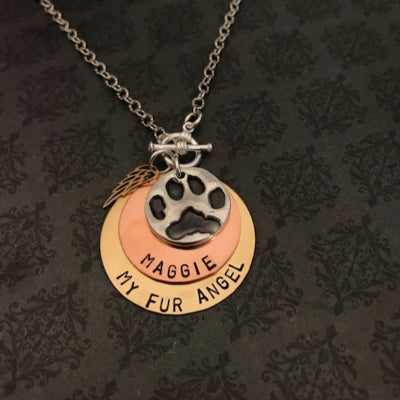 Pet Paw or Nose Print stacked Necklace