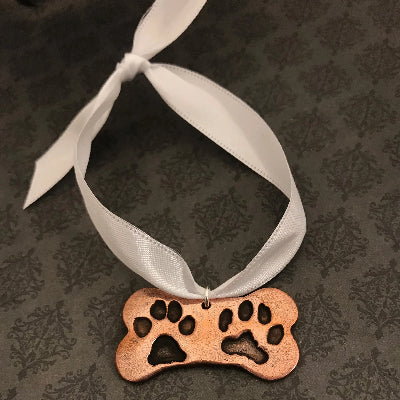 Bone Shaped Pet Paw or Nose Print Keychain or Ornament