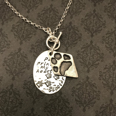 Paw Prints on my Heart Pet Print Necklace