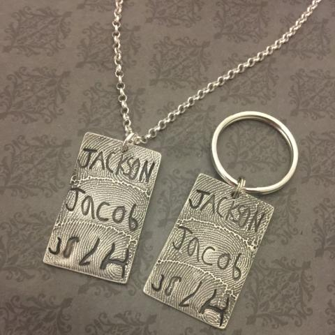 Three Print and Signature Keepsake - Necklace or Keychain