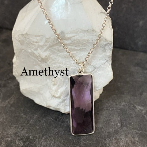 Elongated Rectangle Crystal Pendant