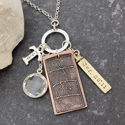 Bar Fingerprint & Crystal Necklace