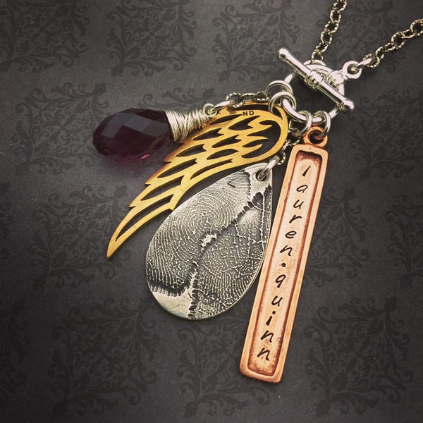 Teardrop Fingerprint with Angel Wing and Bar Necklace