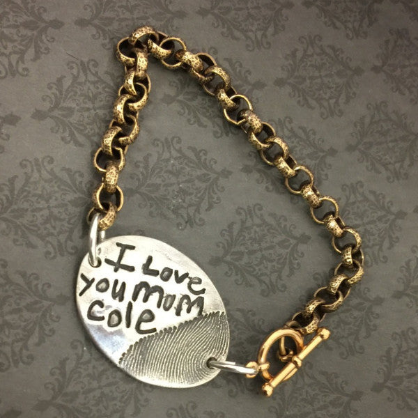 Handwriting and Fingerprint Bracelet with Brass Chain