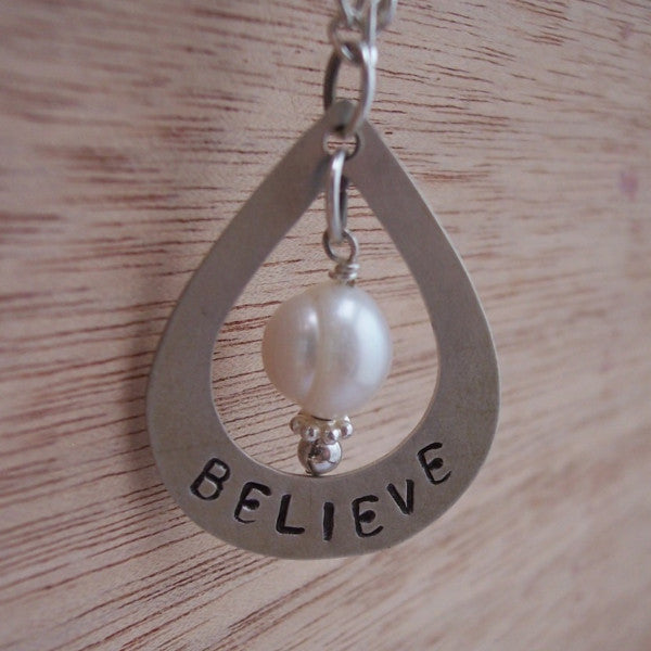 Hand Stamped Open Teardrop