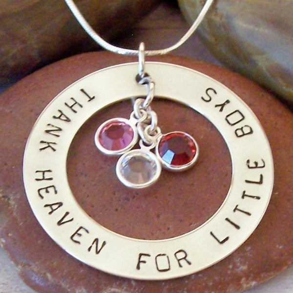 Hand Stamped Large Mother's Ring with Birthstones