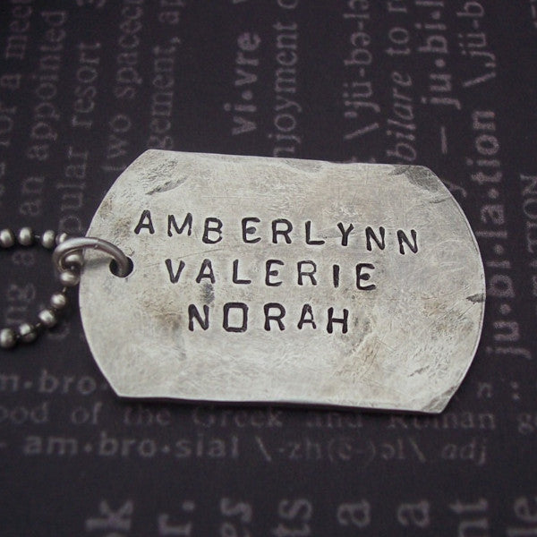 Hand Stamped Dog Tag Necklace