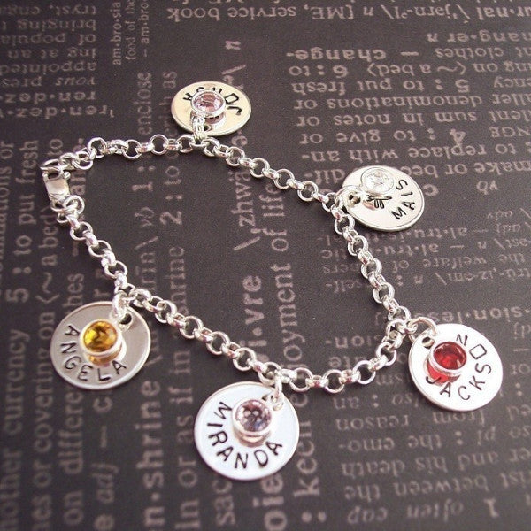 Hand Stamped Names and Birthstones Charm Bracelet