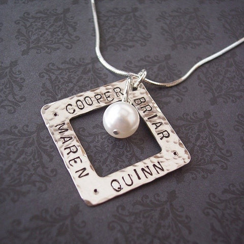 Square Washer Necklace with Pearl