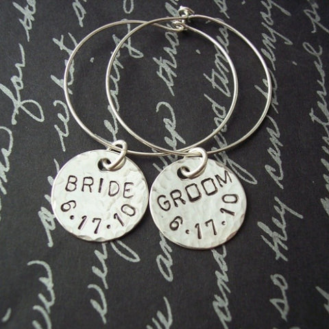 Wine Charms for Bride and Groom or Bridal Party