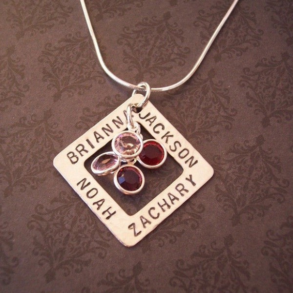 Square Washer Necklace with Birthstones