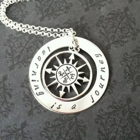Hand Stamped Learning is a Journey Necklace