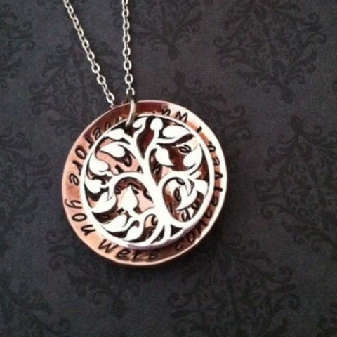 Family Tree Necklace - Sterling Tree & Copper Disc