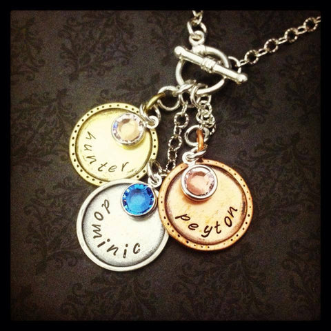 Hand Stamped Charm and Birthstone Necklace
