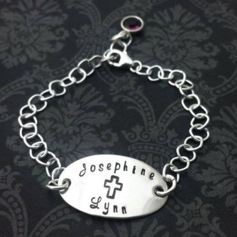 Hand stamped Cross Bracelet