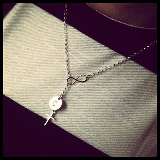 Infinity necklace with Cross and Initial
