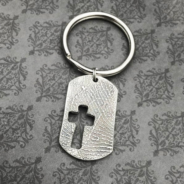 Dogtag Fingerprint or handwriting Keychain - Optional Cross Cutout