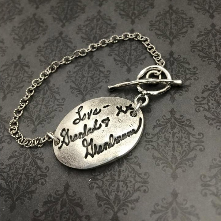 Oval Signature Handwriting Bracelet