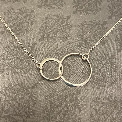 Sterling Silver Double Interlocking Ring Necklace