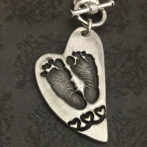 **NEW** Asymmetrical heart Actual Footprint Necklace