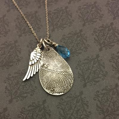 Teardrop Fingerprint Necklace with Wing Charm and Birthstone