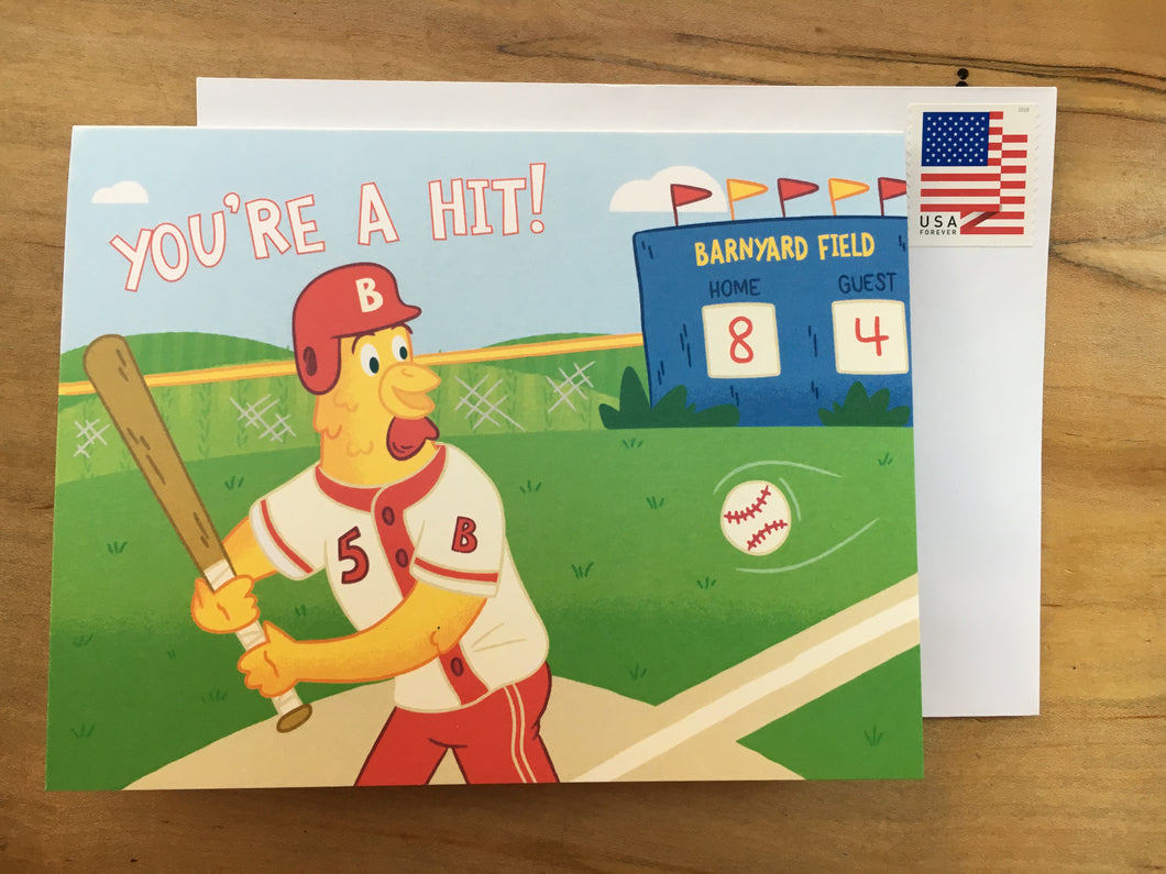 Baseball Thank You Card w/ Stamp
