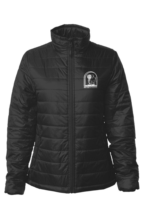 Bantoo White Logo Womens Puffer Jacket - bantoooutdoors