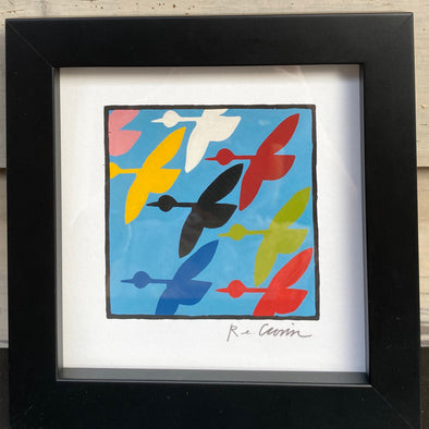 COLORFUL GEESE - Framed Mini Print