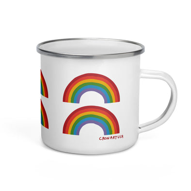 Double Rainbow Enamel Mug