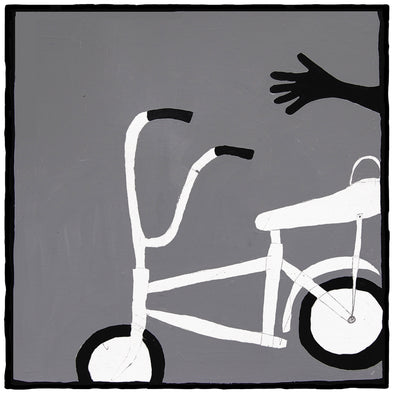 Bike painting, grey, white, and black original oil artwork. Large-scale perfect for home and office decoration. Original work by artist Ryan Cronin.