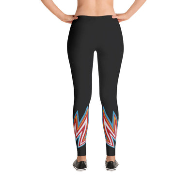 Polyester lightning print black yoga pants