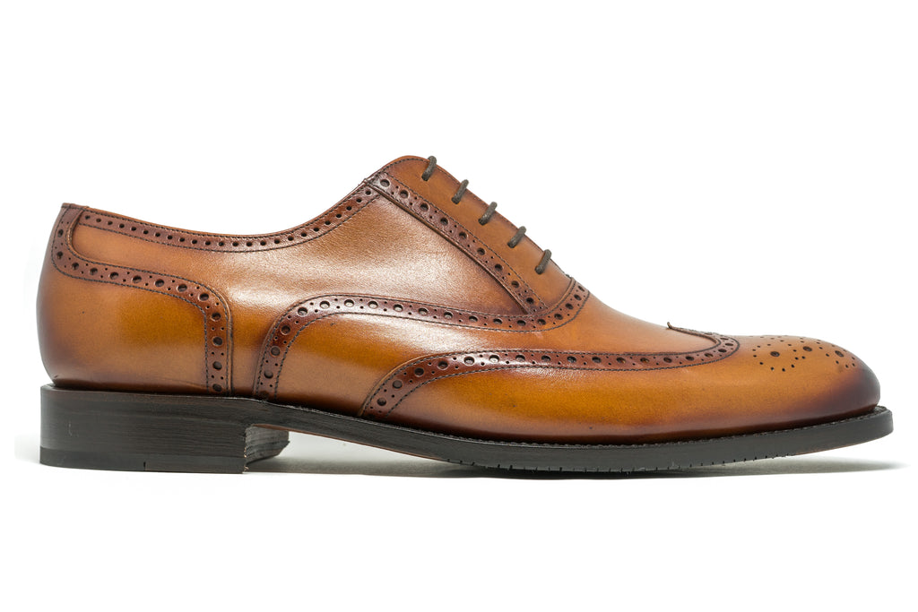 The York Oxford in Brown is a classic, fully brogued Oxford.