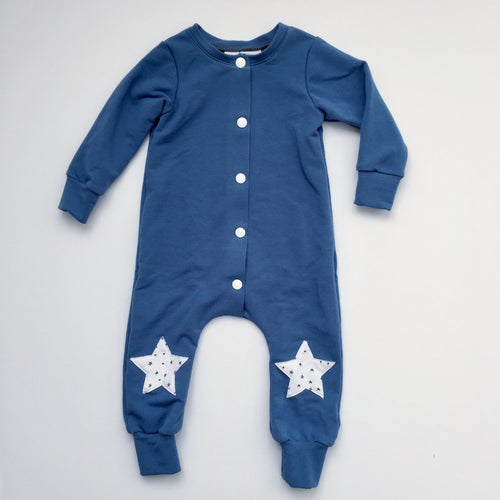 French Terry Starry Knee Snap Romper