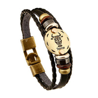 Fashion Jewelry Leather Bracelet Men Casual Personality Zodiac Signs Punk Bracelet